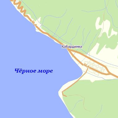 Кабардинка.  Схема расположения Кабардинки на побережье Чёрного моря.